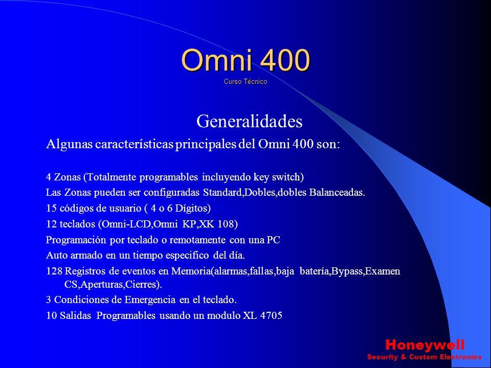 Generalidades Algunas características principales del Omni 400 son: 4 Zonas (Totalmente programables incluyendo key switch) Las Zonas pueden ser configuradas Standard,Dobles,dobles Balanceadas.