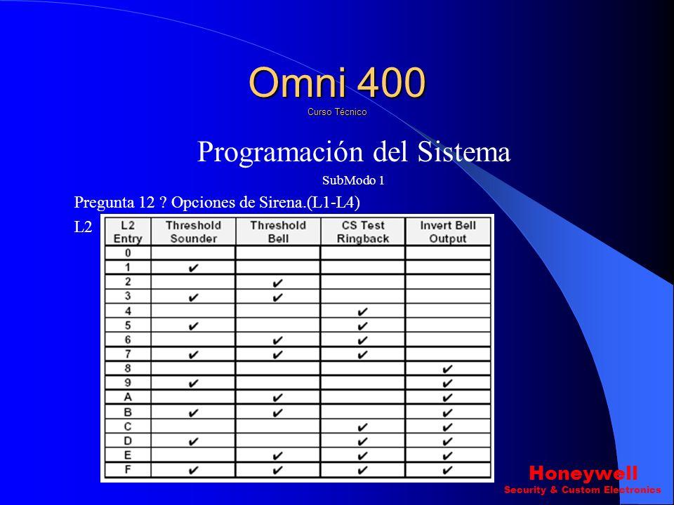 Programación del Sistema SubModo 1 Pregunta 12 ? Opciones de Sirena.(L1-L4) L1 Omni 400 Curso Técnico Honeywell Security & Custom Electronics