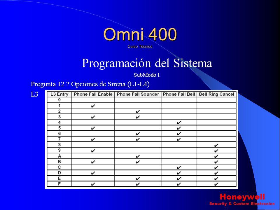 Programación del Sistema SubModo 1 Pregunta 12 ? Opciones de Sirena.(L1-L4) L2 Omni 400 Curso Técnico Honeywell Security & Custom Electronics