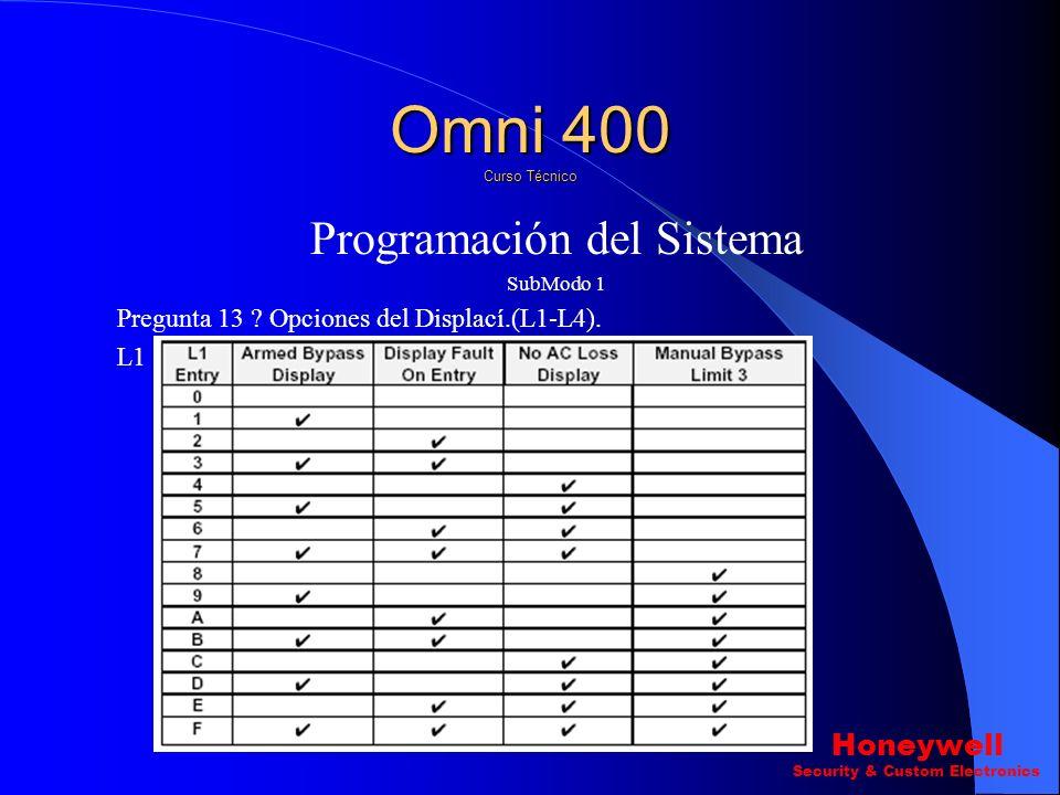 Programación del Sistema SubModo 1 Pregunta 12 ? Opciones de Sirena.(L1-L4) L4 Omni 400 Curso Técnico Honeywell Security & Custom Electronics