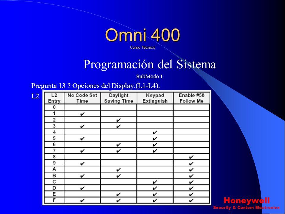 Programación del Sistema SubModo 1 Pregunta 13 ? Opciones del Displací.(L1-L4). L1 Omni 400 Curso Técnico Honeywell Security & Custom Electronics