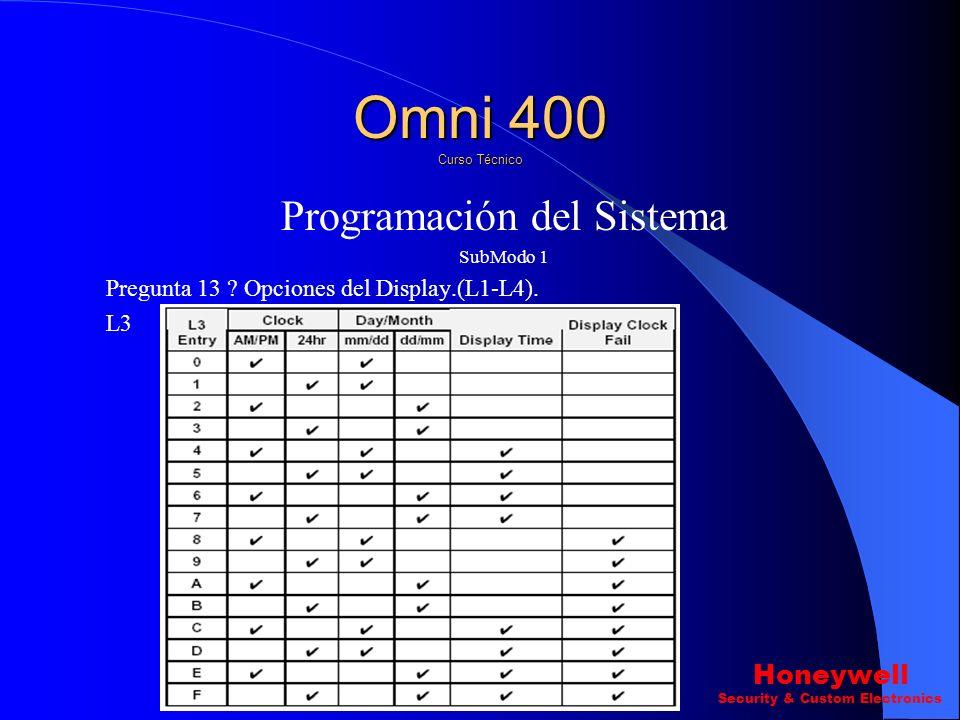 Programación del Sistema SubModo 1 Pregunta 13 ? Opciones del Display.(L1-L4). L2 Omni 400 Curso Técnico Honeywell Security & Custom Electronics
