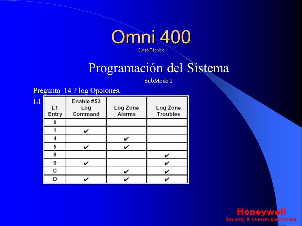 Programación del Sistema SubModo 1 Pregunta 13 ? Opciones del Display.(L1-L4). L3 Omni 400 Curso Técnico Honeywell Security & Custom Electronics
