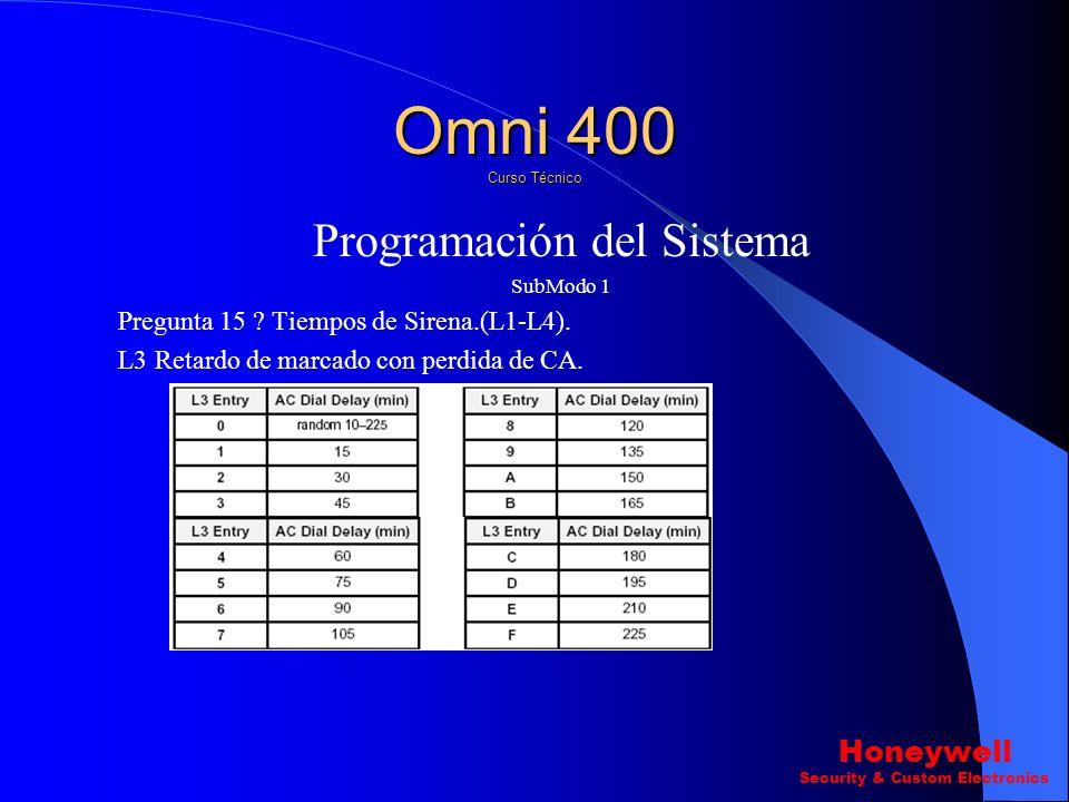 Programación del Sistema SubModo 1 Pregunta 15 ? Tiempos de Sirena.(L1-L4). L1 & L2 Tiempo de sirena de Robo y Fuego. Omni 400 Curso Técnico Honeywell