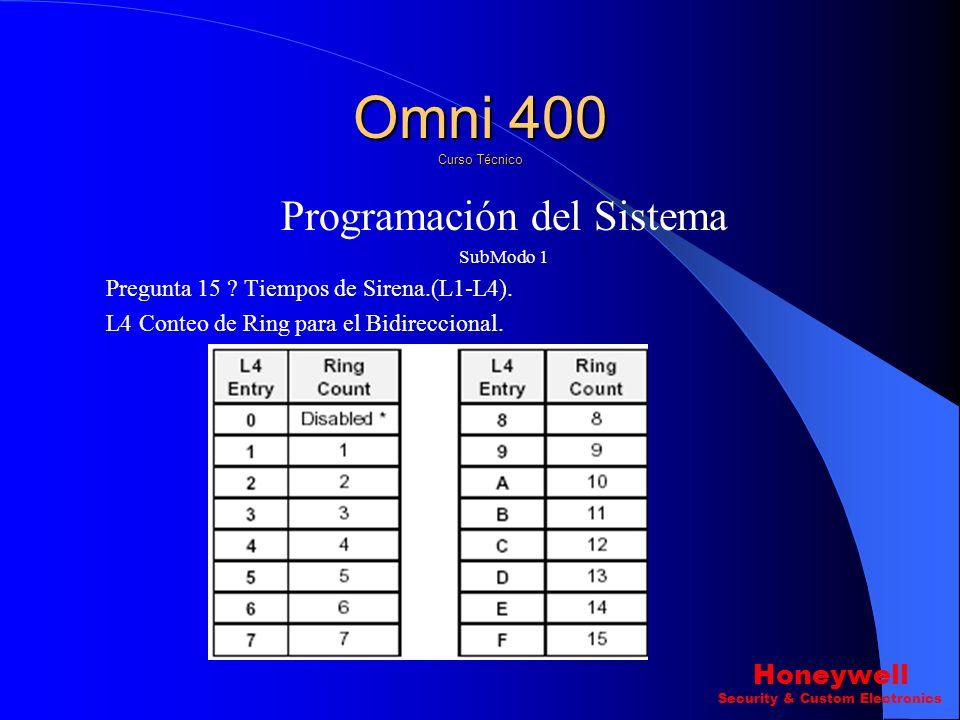 Programación del Sistema SubModo 1 Pregunta 15 ? Tiempos de Sirena.(L1-L4). L3 Retardo de marcado con perdida de CA. Omni 400 Curso Técnico Honeywell