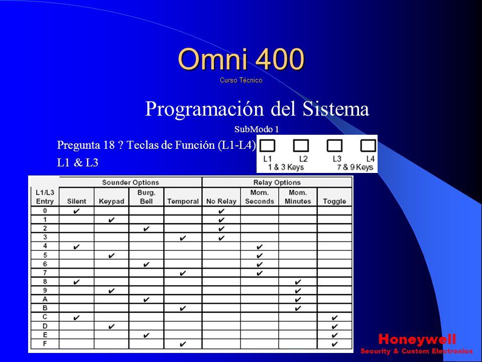 Programación del Sistema SubModo 1 Pregunta 16 ? Retardo de Entrada\Salida y Retardo de Marcado.(L1-L4) L4 Retardo de marcado Omni 400 Curso Técnico H