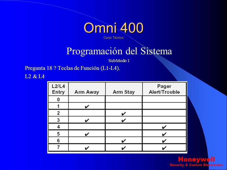Programación del Sistema SubModo 1 Pregunta 18 ? Teclas de Función (L1-L4). L1 & L3 Omni 400 Curso Técnico Honeywell Security & Custom Electronics