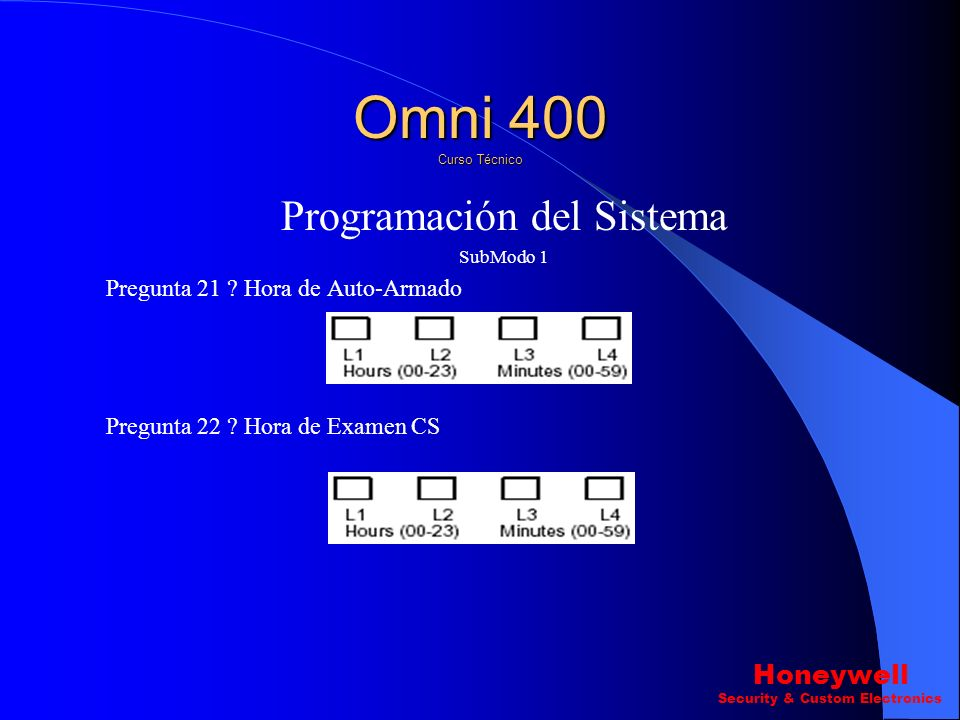 Programación del Sistema SubModo 1 Pregunta 19 ? Tecla de función para *,# L2 Omni 400 Curso Técnico Honeywell Security & Custom Electronics