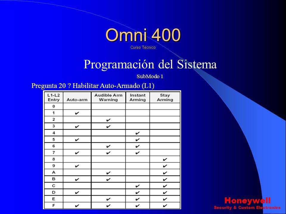 Programación del Sistema SubModo 1 Pregunta 21 ? Hora de Auto-Armado Pregunta 22 ? Hora de Examen CS Omni 400 Curso Técnico Honeywell Security & Custo