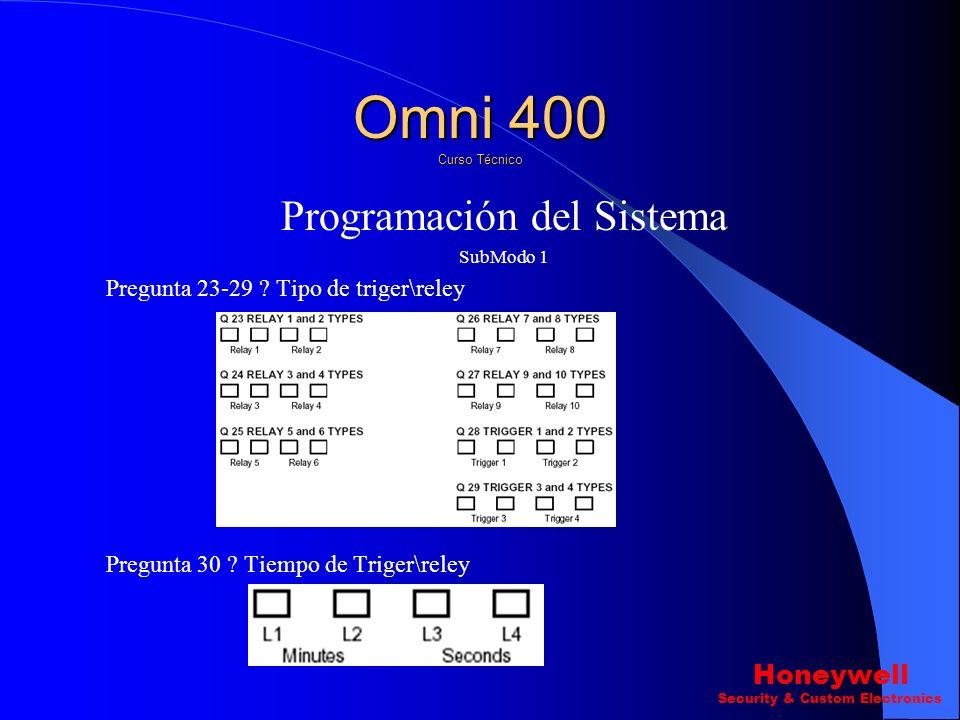 Programación del Sistema SubModo 1 Pregunta 20 ? Habilitar Auto-Armado (L1) Omni 400 Curso Técnico Honeywell Security & Custom Electronics