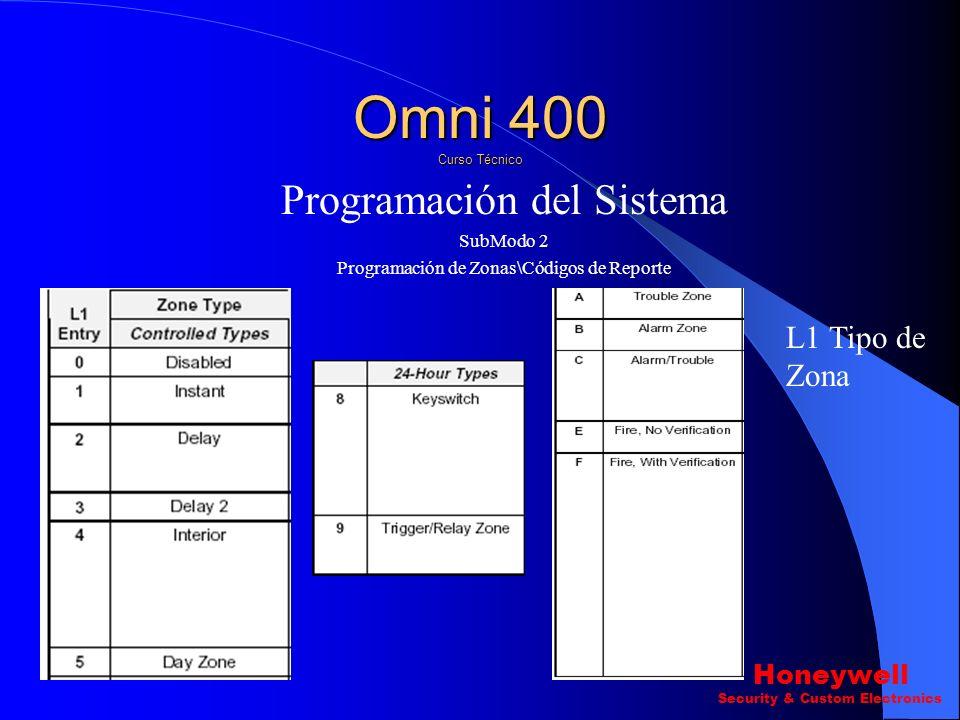 Programación del Sistema SubModo 2 Programación de Zonas\Códigos de Reporte Pregunta ? 1-8 Zonas (L1-L4) L1 Tipo de Zona L2 Configuracion L3 Silencios