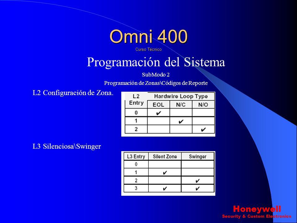 Programación del Sistema SubModo 2 Programación de Zonas\Códigos de Reporte Omni 400 Curso Técnico Honeywell Security & Custom Electronics L1 Tipo de