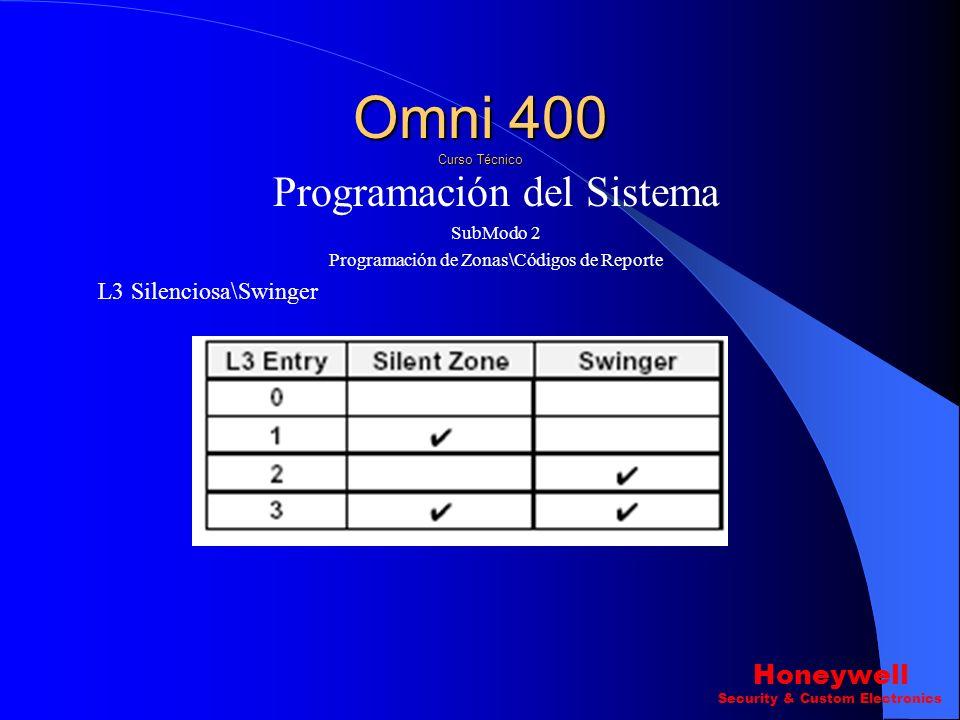 Programación del Sistema SubModo 2 Programación de Zonas\Códigos de Reporte L2 Configuración de Zona. L3 Silenciosa\Swinger Omni 400 Curso Técnico Hon