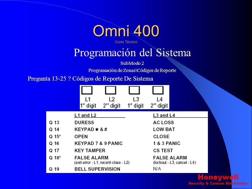 Programación del Sistema SubModo 2 Programación de Zonas\Códigos de Reporte Pregunta ? 9-12 Códigos de Reporte De las Zonas Omni 400 Curso Técnico Hon