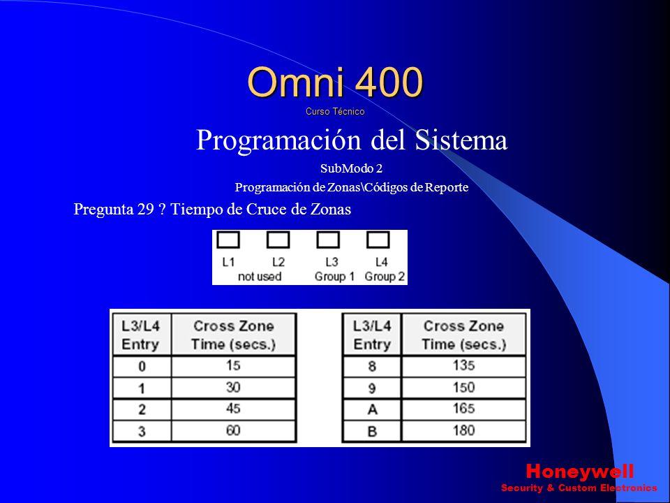 Programación del Sistema SubModo 2 Programación de Zonas\Códigos de Reporte Pregunta 26 ? Primeras Zonas Dobles. Pregunta 27-29 ? Zonas Cruzadas. Omni