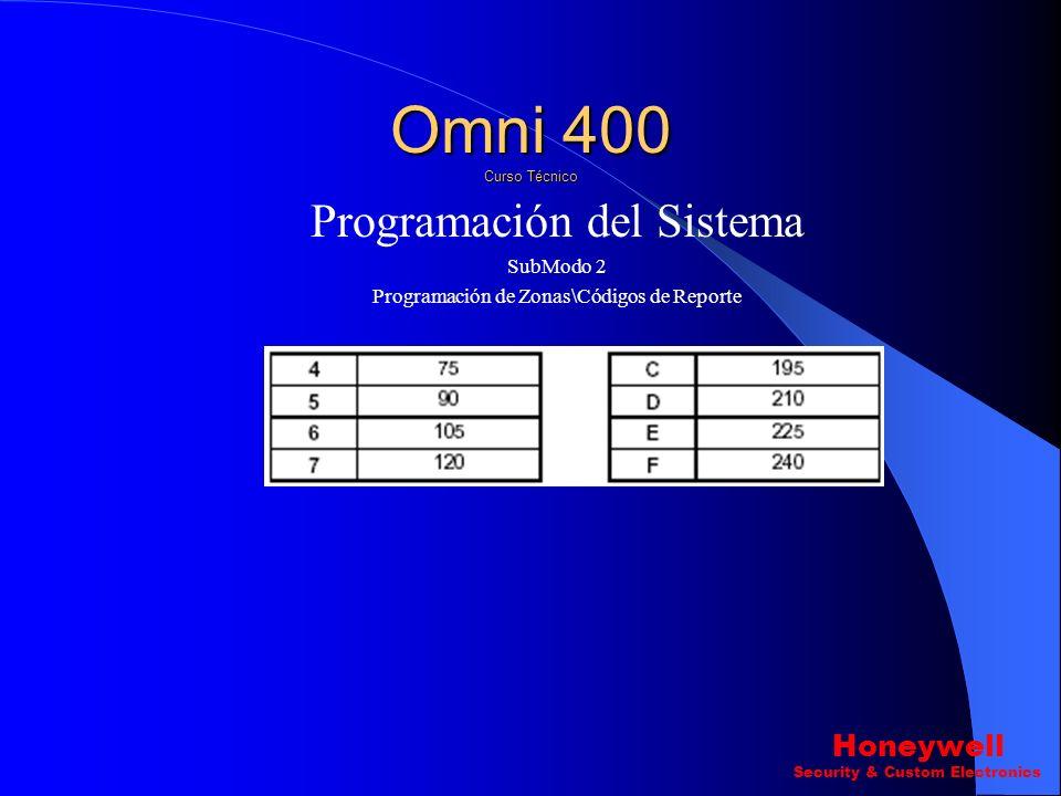 Programación del Sistema SubModo 2 Programación de Zonas\Códigos de Reporte Pregunta 29 ? Tiempo de Cruce de Zonas Omni 400 Curso Técnico Honeywell Se