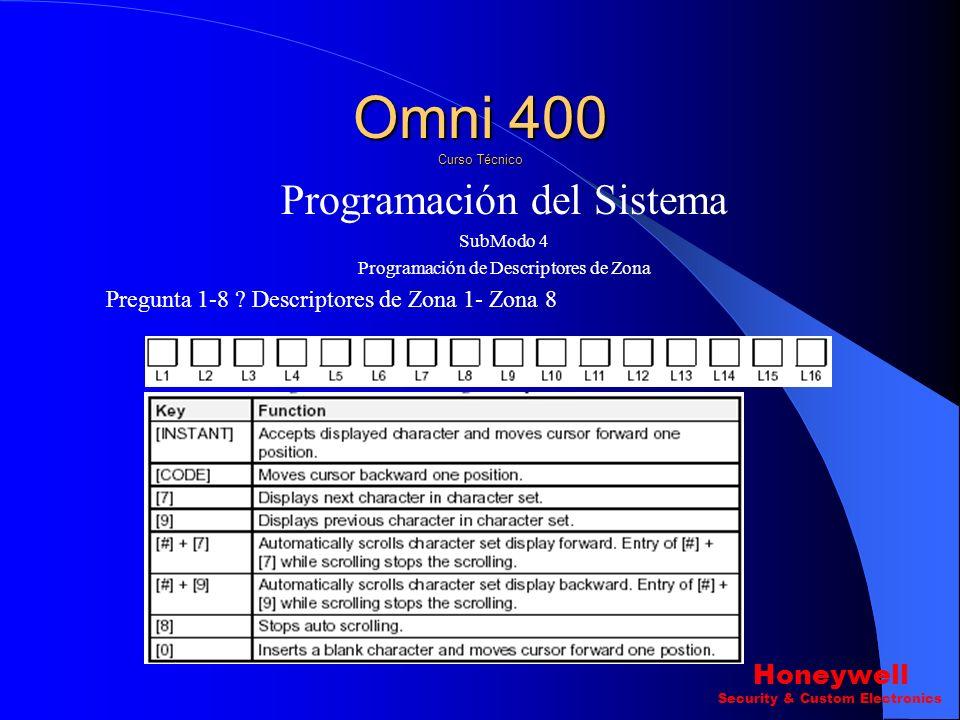 Programación del Sistema SubModo 4 Programación de Descriptores de Zona Para ingresar al Submodo 4 Ingresamos la secuencia Siguiente. Esta secuencia s