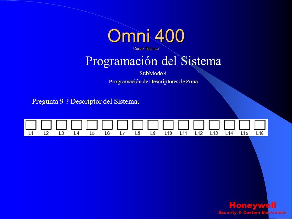 Programación del Sistema SubModo 4 Programación de Descriptores de Zona Pregunta 1-8 ? Descriptores de Zona 1- Zona 8 Omni 400 Curso Técnico Honeywell
