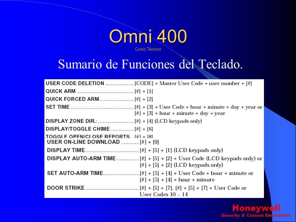 Programación del Sistema SubModo 4 Programación de Descriptores de Zona Pregunta 9 ? Descriptor del Sistema. Omni 400 Curso Técnico Honeywell Security