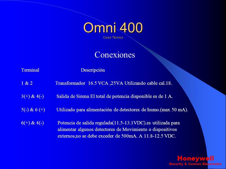 Programación. Omni 400 Curso Técnico Honeywell Security & Custom Electronics