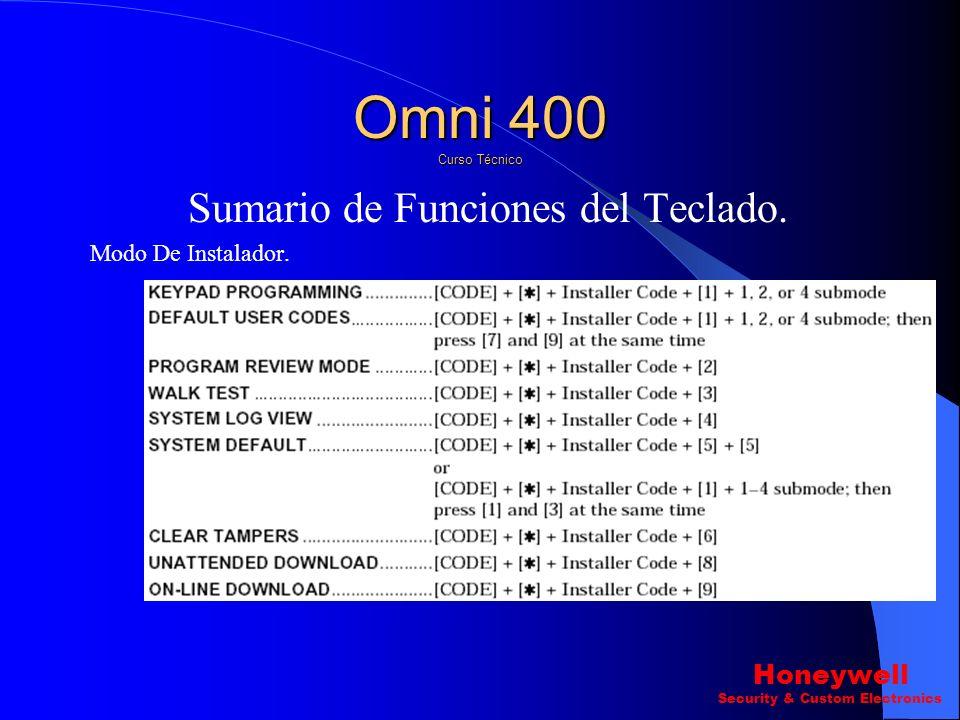 Sumario de Funciones del Teclado. Omni 400 Curso Técnico Honeywell Security & Custom Electronics