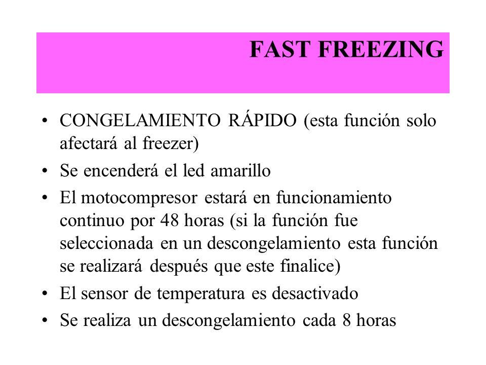 FAST FREEZING CONGELAMIENTO RÁPIDO (esta función solo afectará al freezer) Se encenderá el led amarillo El motocompresor estará en funcionamiento cont