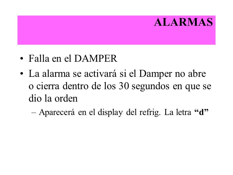 ALARMAS Falla en el DAMPER La alarma se activará si el Damper no abre o cierra dentro de los 30 segundos en que se dio la orden –Aparecerá en el displ