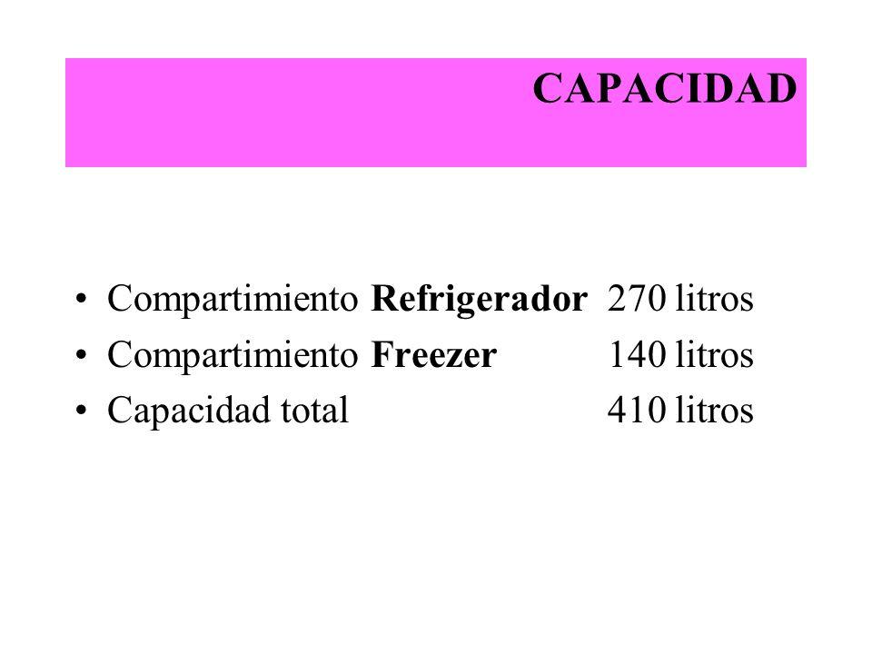 CAPACIDAD Compartimiento Refrigerador 270 litros Compartimiento Freezer 140 litros Capacidad total 410 litros