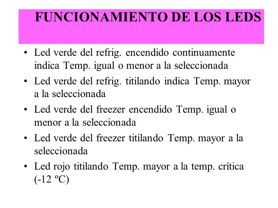 FUNCIONAMIENTO DE LOS LEDS Led verde del refrig. encendido continuamente indica Temp. igual o menor a la seleccionada Led verde del refrig. titilando