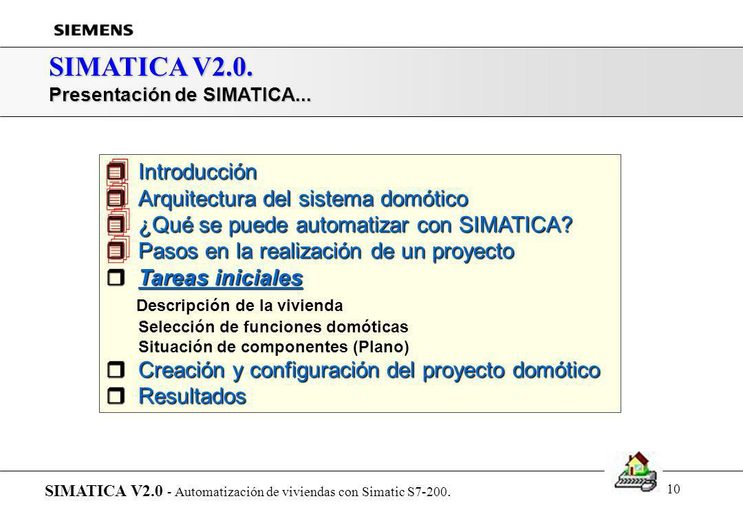 9 SIMATICA V2.0. Pasos para la realización de un proyecto domótico con SIMATICA SIMATICA V2.0 - Automatización de viviendas con Simatic S7-200. Descri