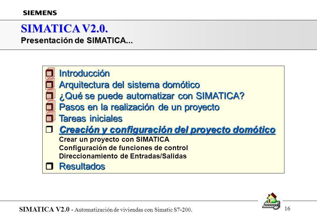 15 SIMATICA V2.0. Tareas iniciales: Situación de componentes SIMATICA V2.0 - Automatización de viviendas con Simatic S7-200.