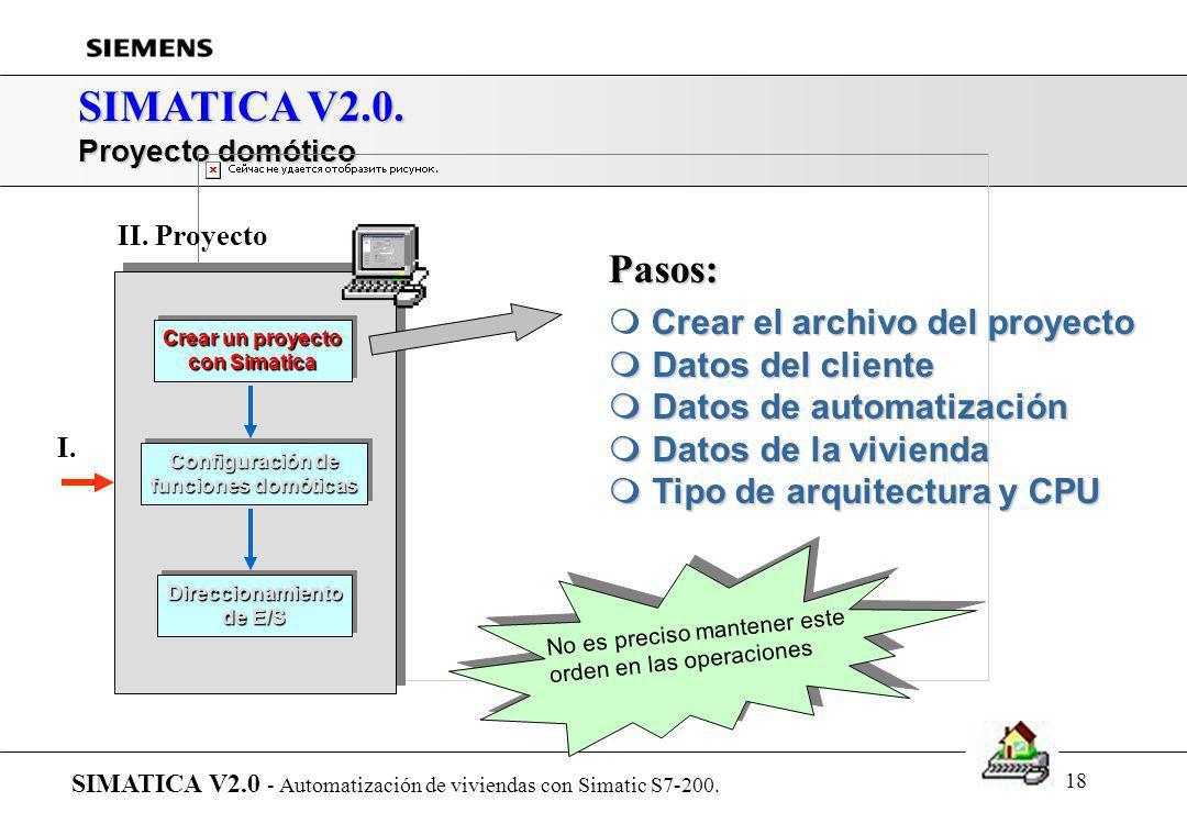 17 SIMATICA V2.0. Presentación de SIMATICA... SIMATICA V2.0 - Automatización de viviendas con Simatic S7-200. r Introducción r Arquitectura del sistem
