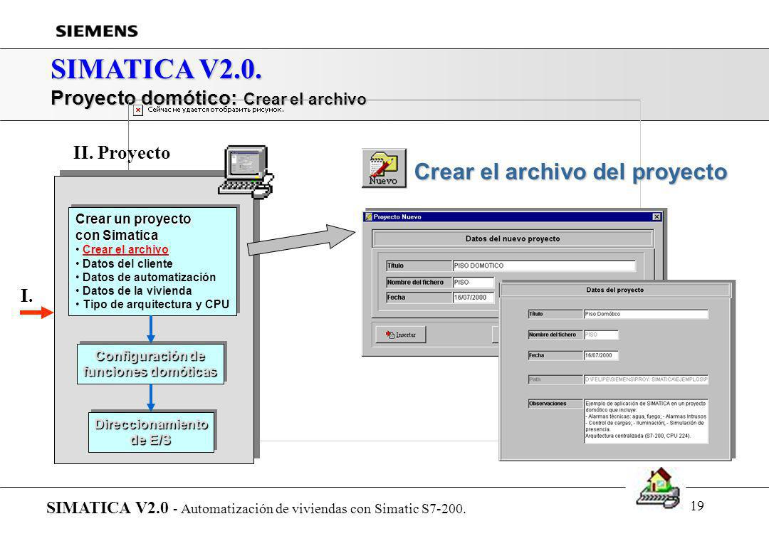 18 SIMATICA V2.0. Proyecto domótico SIMATICA V2.0 - Automatización de viviendas con Simatic S7-200. Crear un proyecto con Simatica Crear un proyecto c