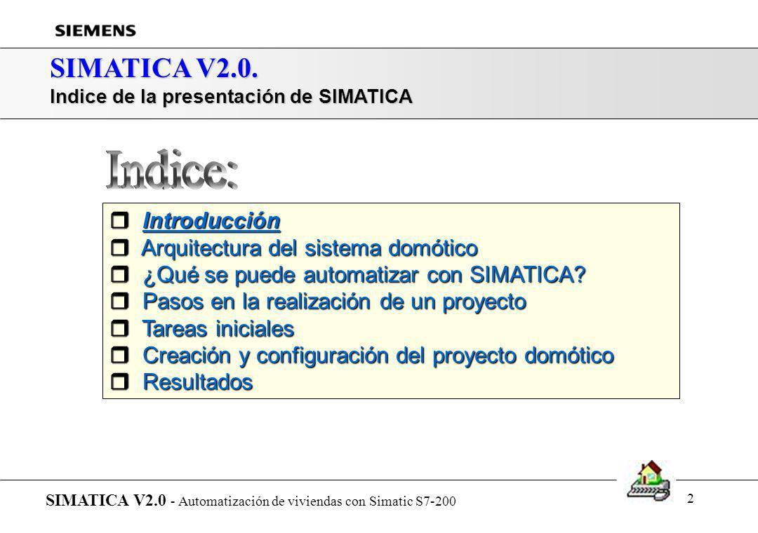 1 SIMATICA V2.0. Automatización de Viviendas con Simatic S7-200 SIMATICA V2.0 - Automatización de viviendas con Simatic S7-200.(2-8-2000)
