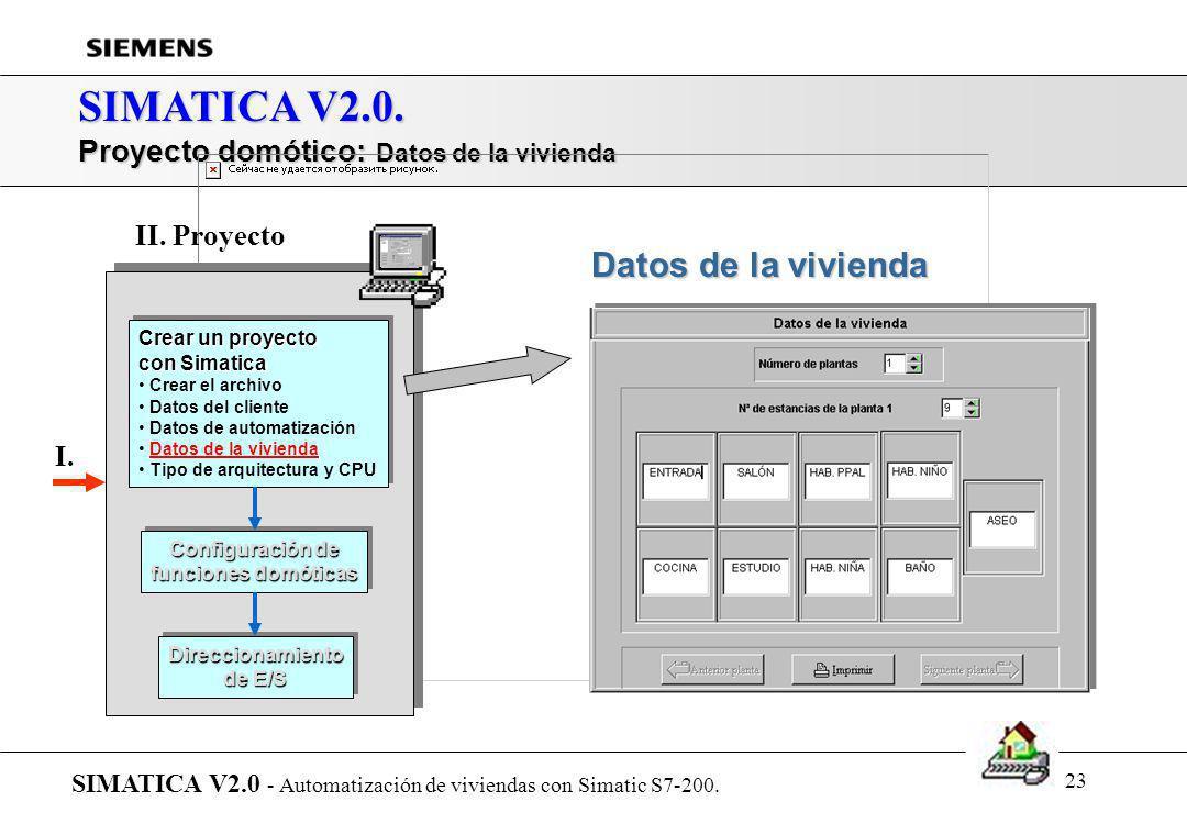 22 SIMATICA V2.0. Proyecto domótico: Datos de automatización SIMATICA V2.0 - Automatización de viviendas con Simatic S7-200. Datos de automatización C