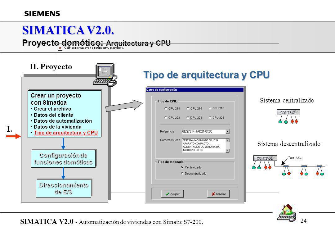 23 SIMATICA V2.0. Proyecto domótico: Datos de la vivienda SIMATICA V2.0 - Automatización de viviendas con Simatic S7-200. Datos de la vivienda Crear u