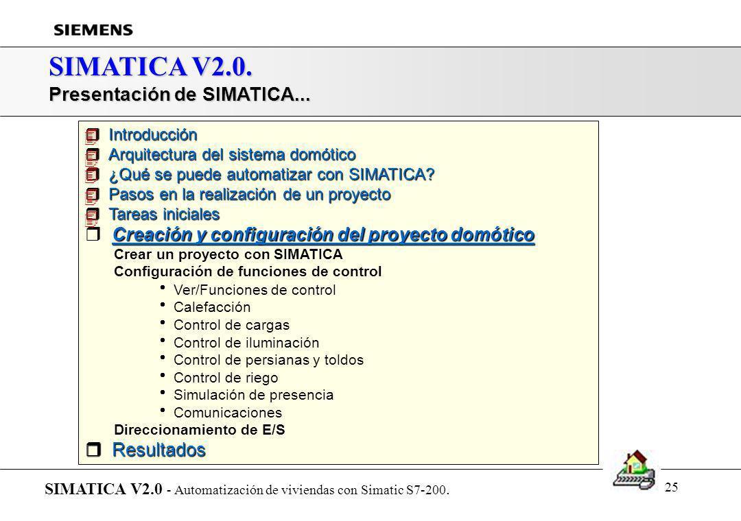 24 SIMATICA V2.0. Proyecto domótico: Arquitectura y CPU SIMATICA V2.0 - Automatización de viviendas con Simatic S7-200. Tipo de arquitectura y CPU CON