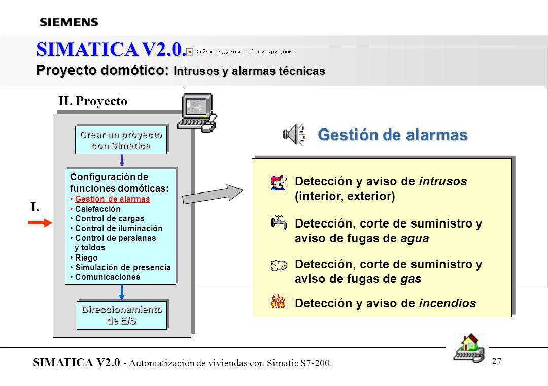 26 SIMATICA V2.0. Proyecto domótico: Configuración de funciones de control SIMATICA V2.0 - Automatización de viviendas con Simatic S7-200. Crear un pr