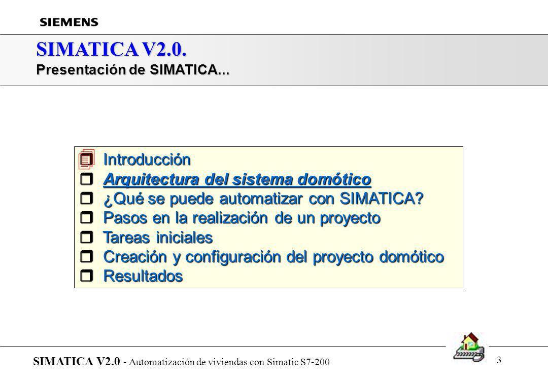 2 SIMATICA V2.0. Indice de la presentación de SIMATICA SIMATICA V2.0 - Automatización de viviendas con Simatic S7-200 r Introducción r Arquitectura de