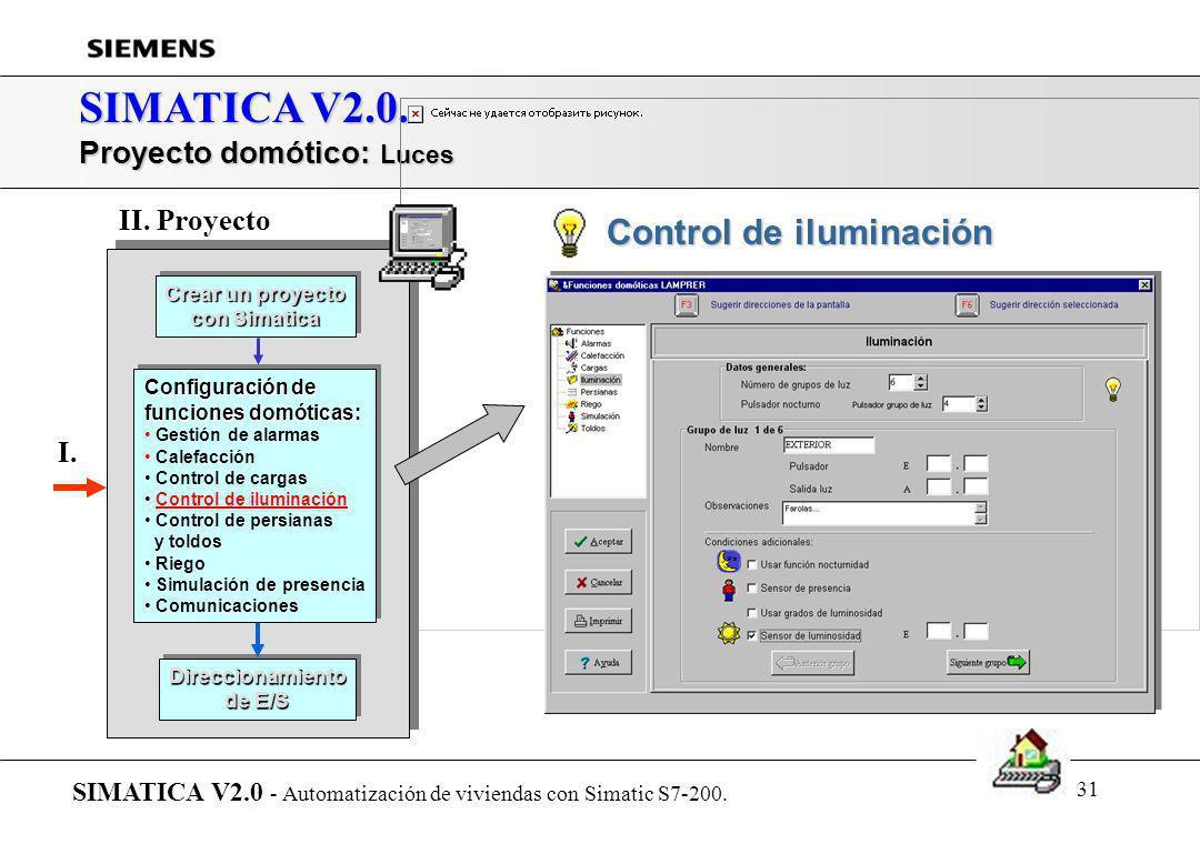 30 SIMATICA V2.0. Proyecto domótico: Control de cargas SIMATICA V2.0 - Automatización de viviendas con Simatic S7-200. Crear un proyecto con Simatica
