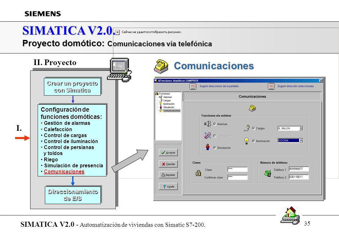 34 SIMATICA V2.0. Proyecto domótico: Simulación de presencia SIMATICA V2.0 - Automatización de viviendas con Simatic S7-200. Crear un proyecto con Sim