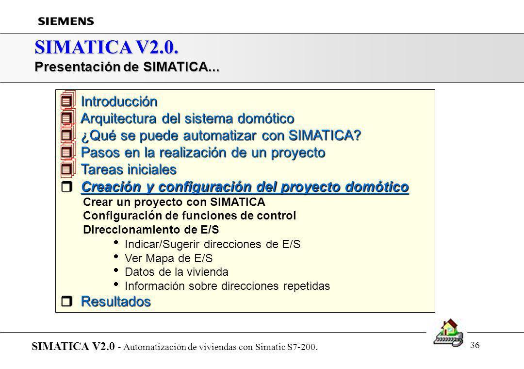 35 SIMATICA V2.0. Proyecto domótico: Comunicaciones vía telefónica SIMATICA V2.0 - Automatización de viviendas con Simatic S7-200. Crear un proyecto c