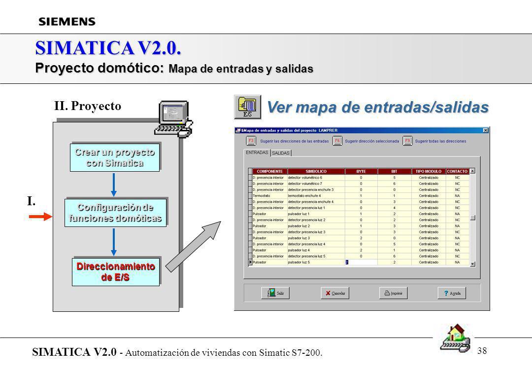 37 SIMATICA V2.0. Proyecto domótico: Direccionamiento de E/S SIMATICA V2.0 - Automatización de viviendas con Simatic S7-200. Crear un proyecto con Sim