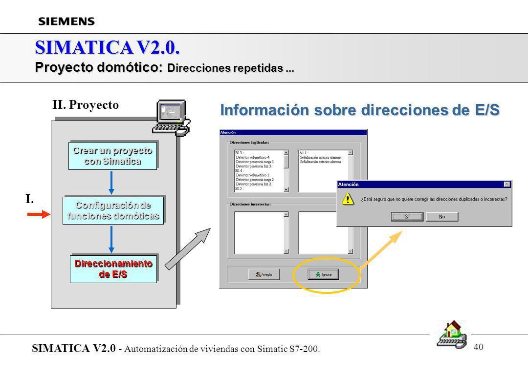 39 SIMATICA V2.0. Proyecto domótico: Estancias de la vivienda (ayuda al direccionamiento de E/S) SIMATICA V2.0 - Automatización de viviendas con Simat