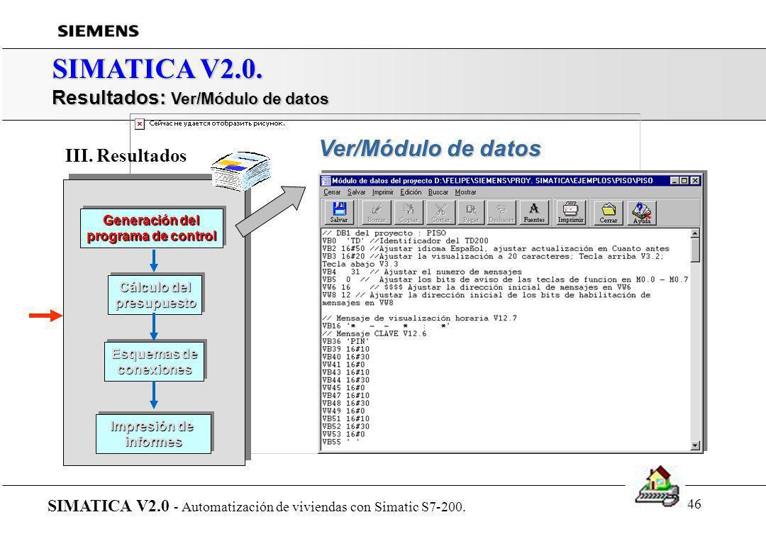 45 SIMATICA V2.0. Resultados: Ver programa de control en AWL SIMATICA V2.0 - Automatización de viviendas con Simatic S7-200. Generación del programa d