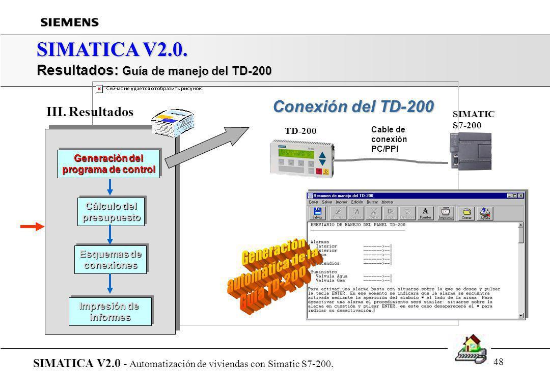 47 SIMATICA V2.0. Resultados: Tranferir programa al PLC SIMATICA V2.0 - Automatización de viviendas con Simatic S7-200. Generación del programa de con