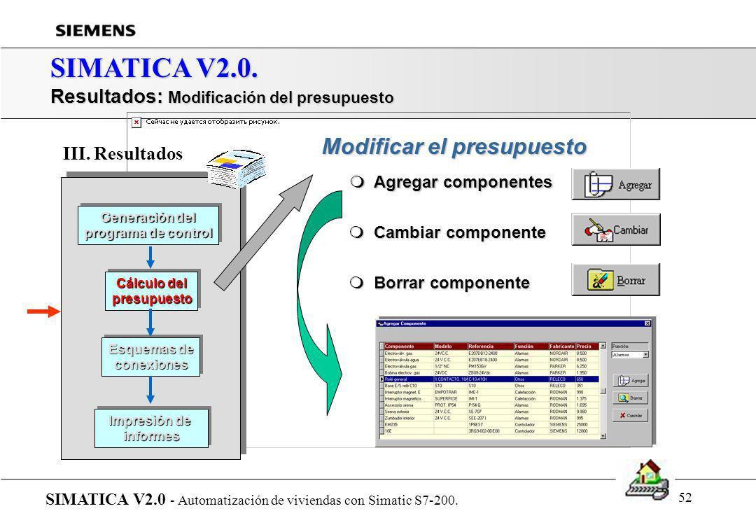 51 SIMATICA V2.0. Resultados: Generar el presupuesto automáticamente SIMATICA V2.0 - Automatización de viviendas con Simatic S7-200. Generación del pr