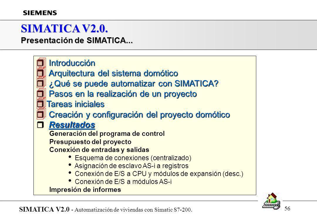 55 SIMATICA V2.0. Resultados: Configuración de componentes por defecto SIMATICA V2.0 - Automatización de viviendas con Simatic S7-200. Generación del