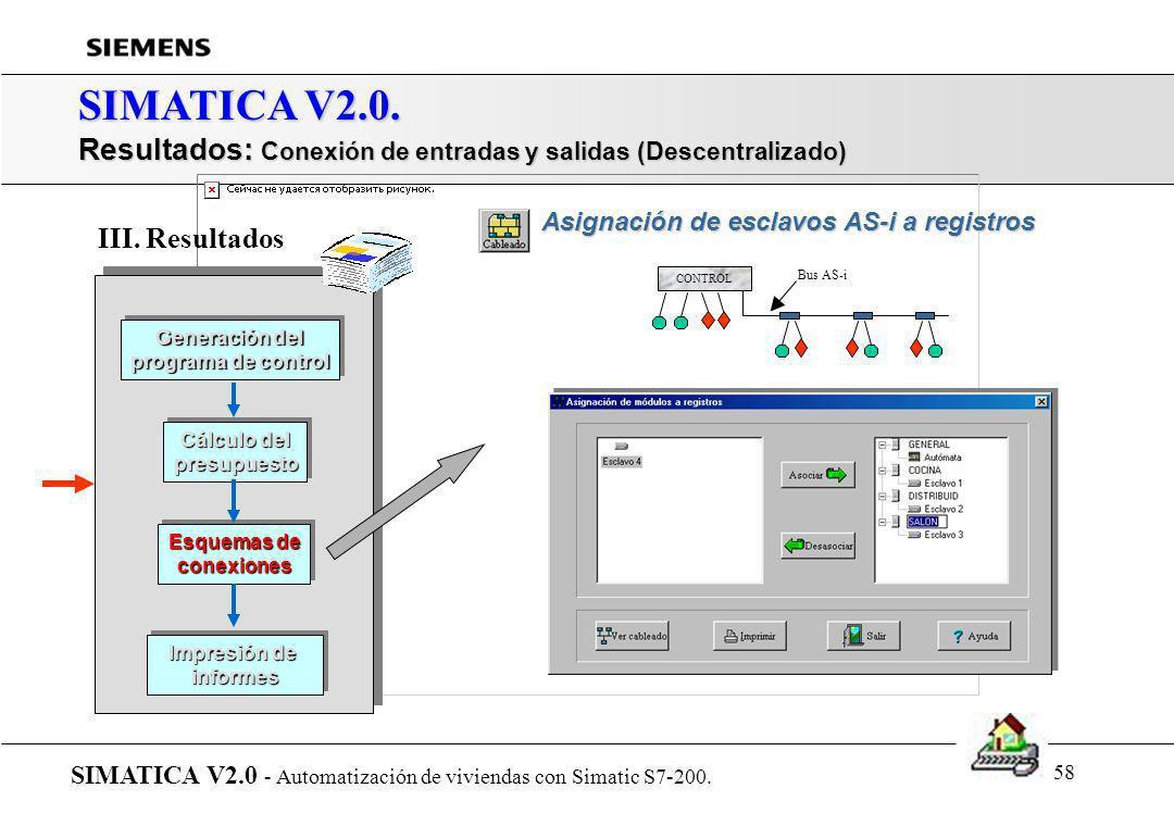 57 SIMATICA V2.0. Resultados: Conexión de entradas y salidas (Centralizado) SIMATICA V2.0 - Automatización de viviendas con Simatic S7-200. Generación