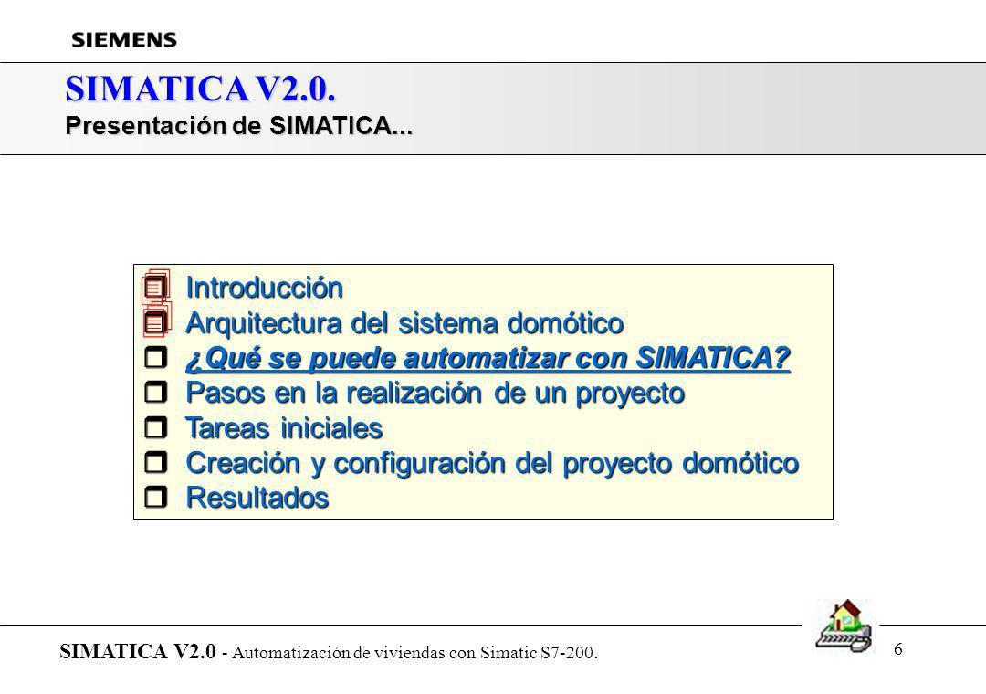 5 SIMATICA V2.0. Arquitectura del sistema domótico (descentralizado Bus AS-i) SIMATICA V2.0 - Automatización de viviendas con Simatic S7-200 Sensores